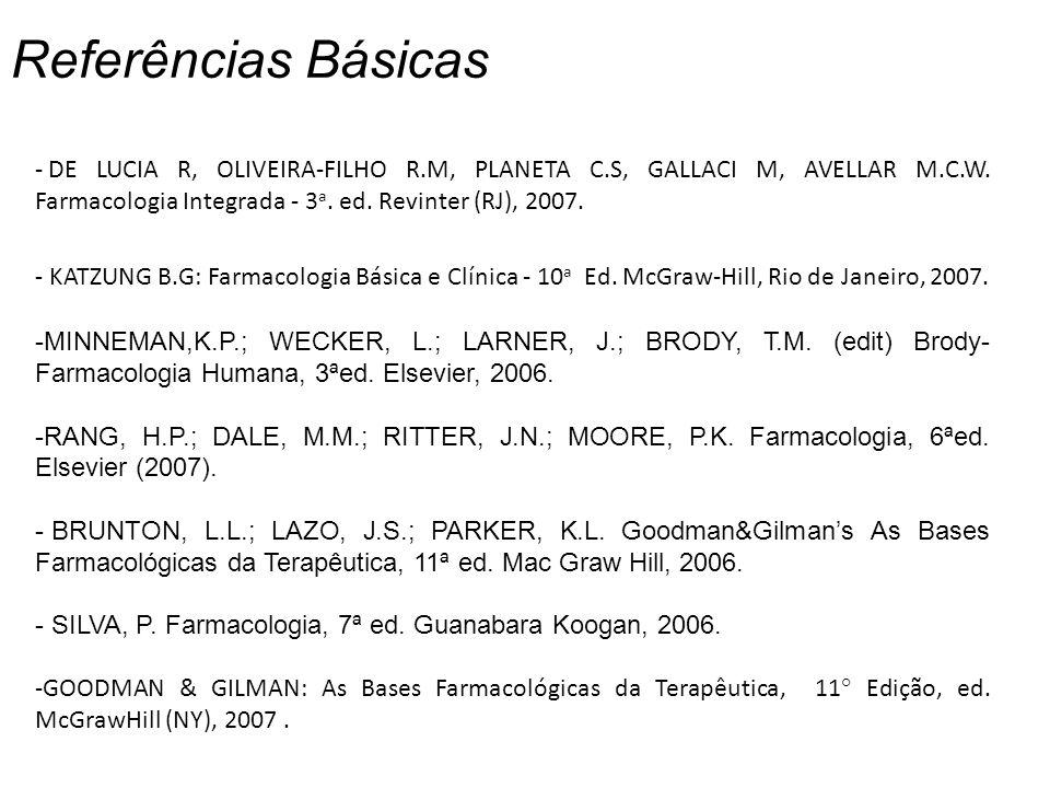 Referências Básicas - DE LUCIA R, OLIVEIRA-FILHO R.M, PLANETA C.S, GALLACI M, AVELLAR M.C.W. Farmacologia Integrada - 3 a. ed. Revinter (RJ), 2007. -