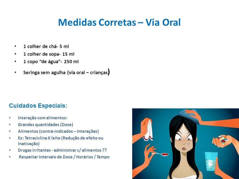 Medidas Corretas – Via Oral 1 colher de chá- 5 ml 1 colher de sopa- 15 ml 1 copo de água- 250 ml Seringa sem agulha (via oral – crianças ) Interação c