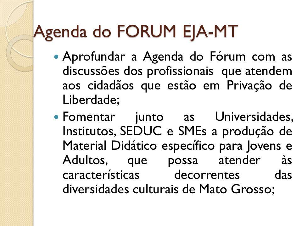 Agenda do FORUM EJA-MT Aprofundar a Agenda do Fórum com as discussões dos profissionais que atendem aos cidadãos que estão em Privação de Liberdade; F