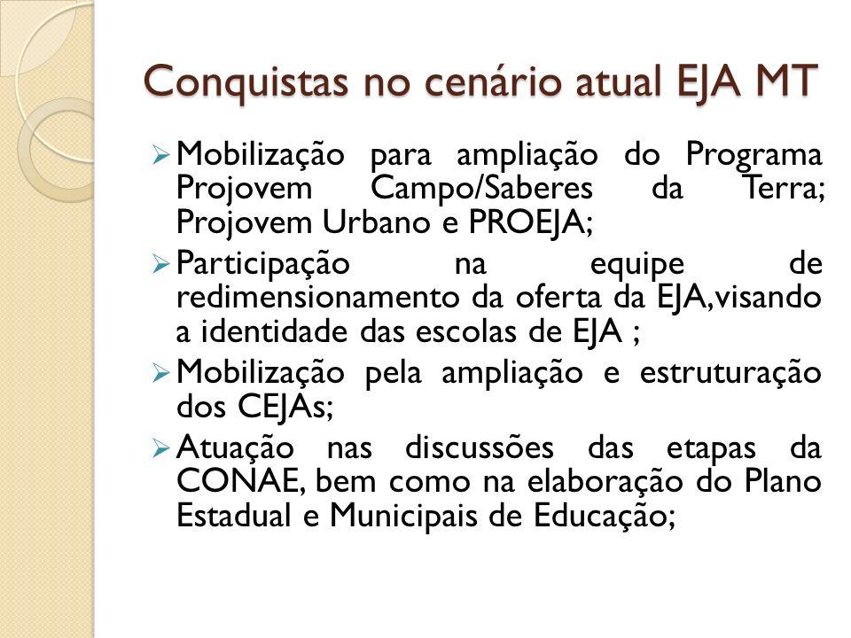 Conquistas no cenário atual EJA MT Mobilização para ampliação do Programa Projovem Campo/Saberes da Terra; Projovem Urbano e PROEJA; Participação na e