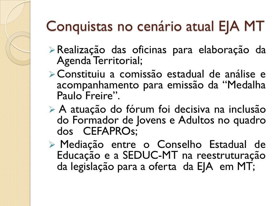 Conquistas no cenário atual EJA MT Realização das oficinas para elaboração da Agenda Territorial; Constituiu a comissão estadual de análise e acompanh