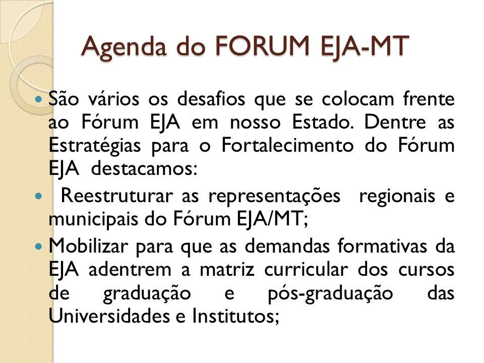 Agenda do FORUM EJA-MT São vários os desafios que se colocam frente ao Fórum EJA em nosso Estado. Dentre as Estratégias para o Fortalecimento do Fórum