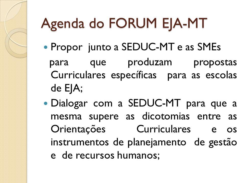 Agenda do FORUM EJA-MT Propor junto a SEDUC-MT e as SMEs para que produzam propostas Curriculares específicas para as escolas de EJA; Dialogar com a S