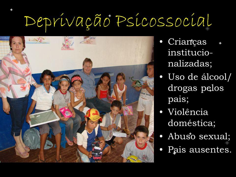 Deprivação Psicossocial Crianças institucio- nalizadas; Uso de álcool/ drogas pelos pais; Violência doméstica; Abuso sexual; Pais ausentes.