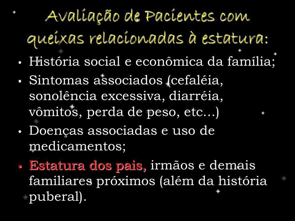 Avaliação de Pacientes com queixas relacionadas à estatura: História social e econômica da família; História social e econômica da família; Sintomas a