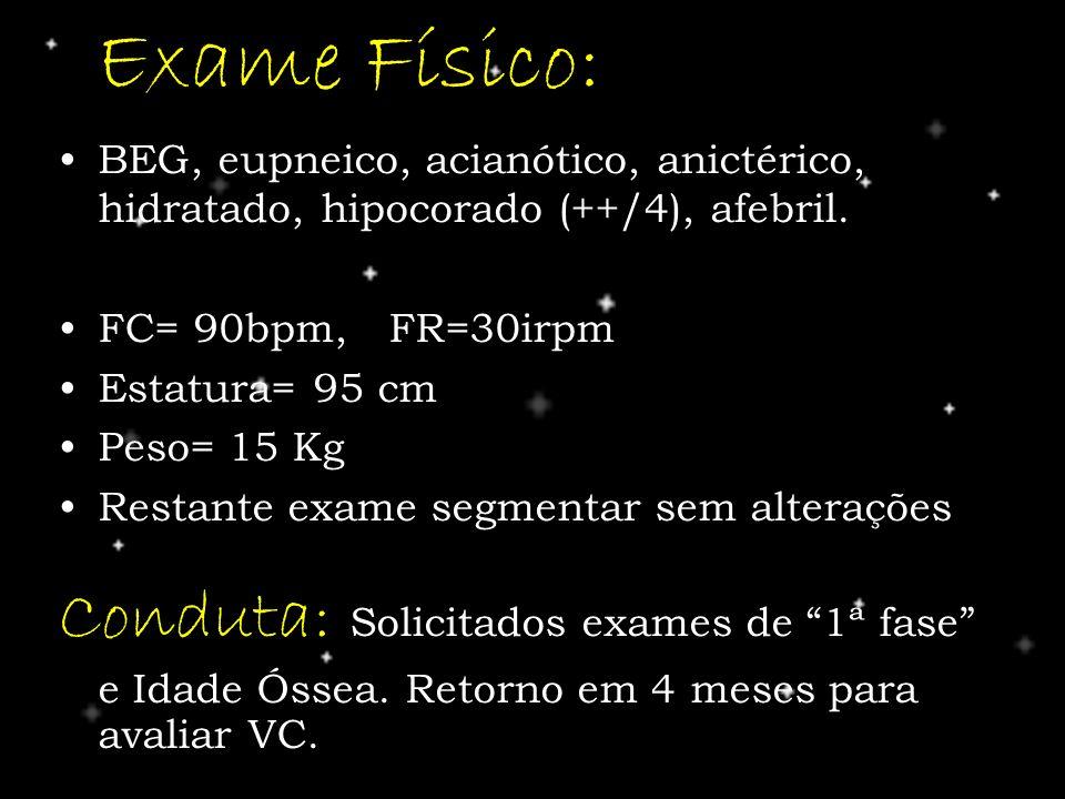 Exame Físico: BEG, eupneico, acianótico, anictérico, hidratado, hipocorado (++/4), afebril. FC= 90bpm, FR=30irpm Estatura= 95 cm Peso= 15 Kg Restante