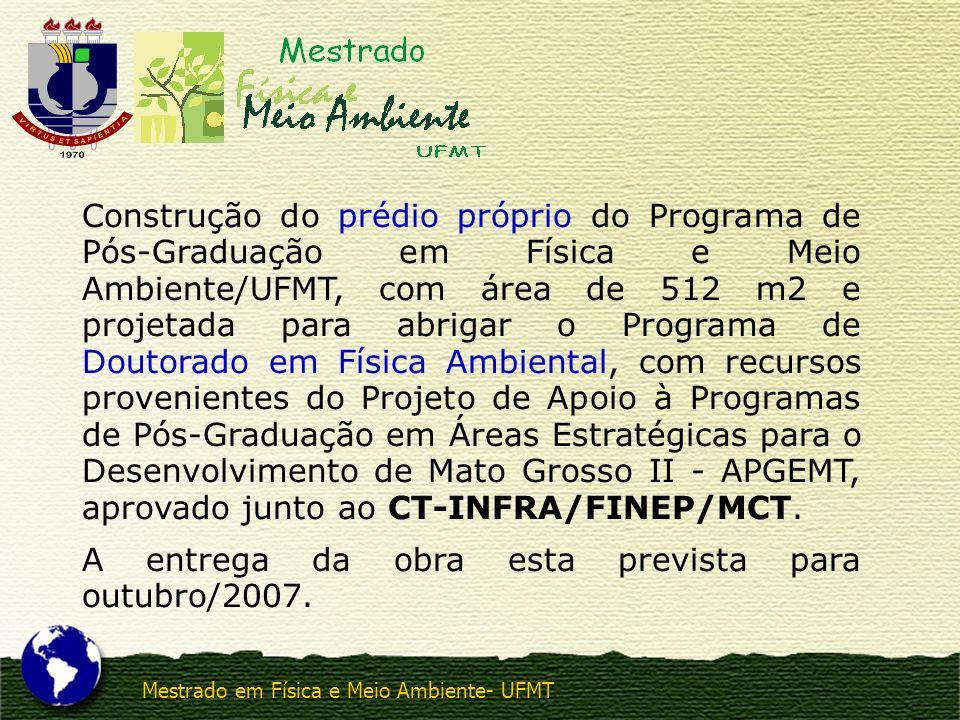 Mestrado em Física e Meio Ambiente- UFMT Construção do prédio próprio do Programa de Pós-Graduação em Física e Meio Ambiente/UFMT, com área de 512 m2