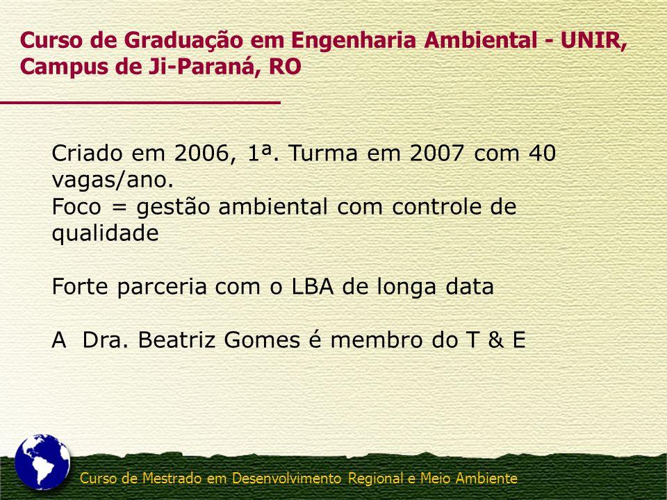 Curso de Mestrado em Desenvolvimento Regional e Meio Ambiente Criado em 2006, 1ª. Turma em 2007 com 40 vagas/ano. Foco = gestão ambiental com controle