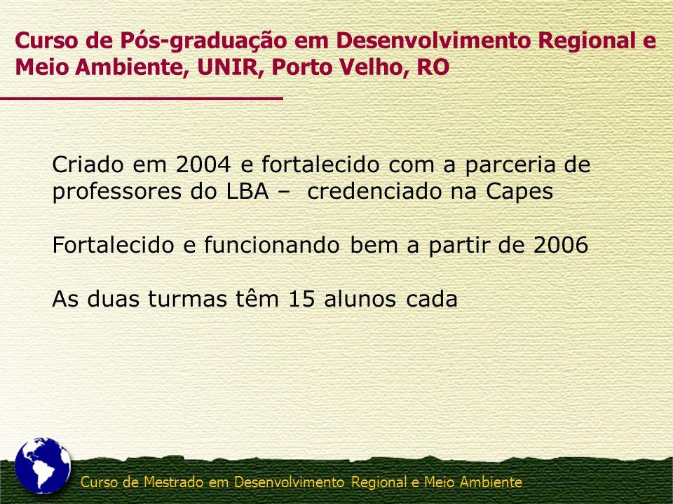 Curso de Mestrado em Desenvolvimento Regional e Meio Ambiente Criado em 2004 e fortalecido com a parceria de professores do LBA – credenciado na Capes