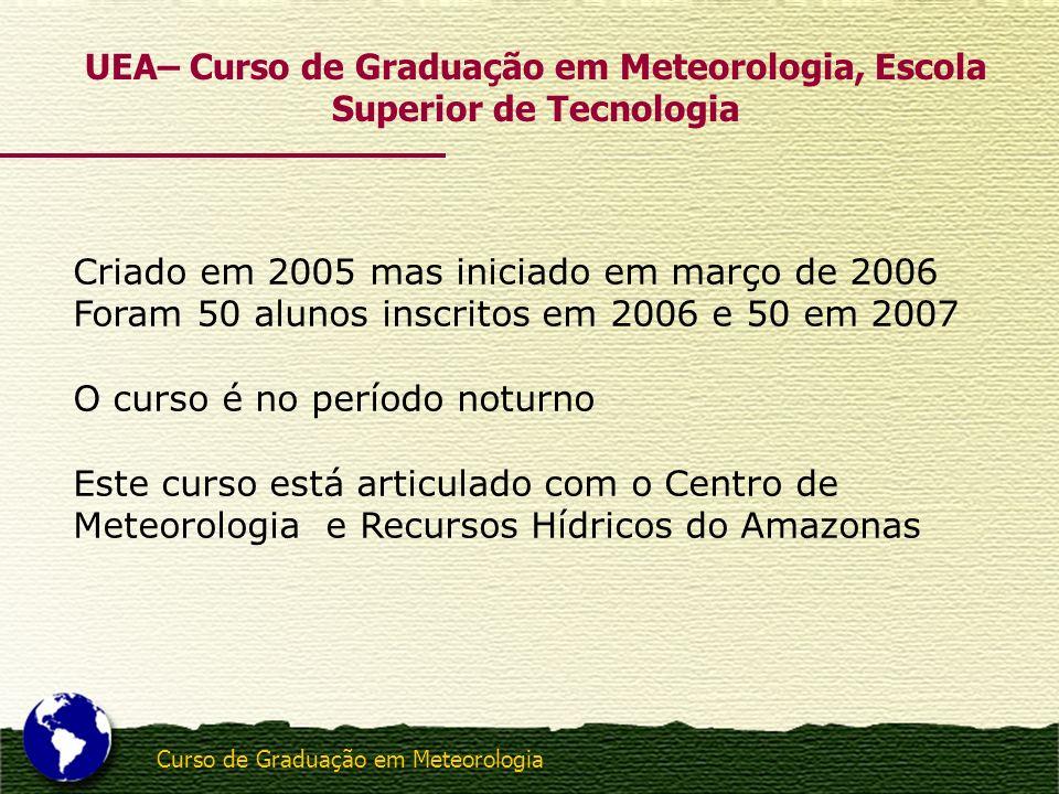 Curso de Graduação em Meteorologia Criado em 2005 mas iniciado em março de 2006 Foram 50 alunos inscritos em 2006 e 50 em 2007 O curso é no período no