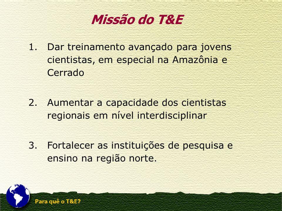 Para quê o T&E? 1.Dar treinamento avançado para jovens cientistas, em especial na Amazônia e Cerrado 2.Aumentar a capacidade dos cientistas regionais