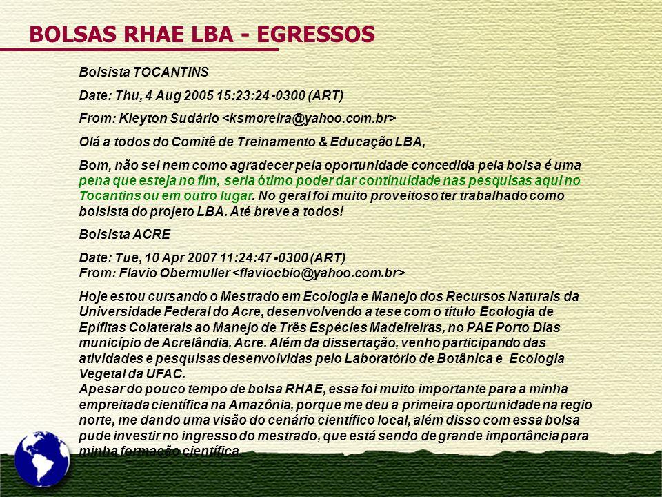 BOLSAS RHAE LBA - EGRESSOS Bolsista TOCANTINS Date: Thu, 4 Aug 2005 15:23:24 -0300 (ART) From: Kleyton Sudário Olá a todos do Comitê de Treinamento &