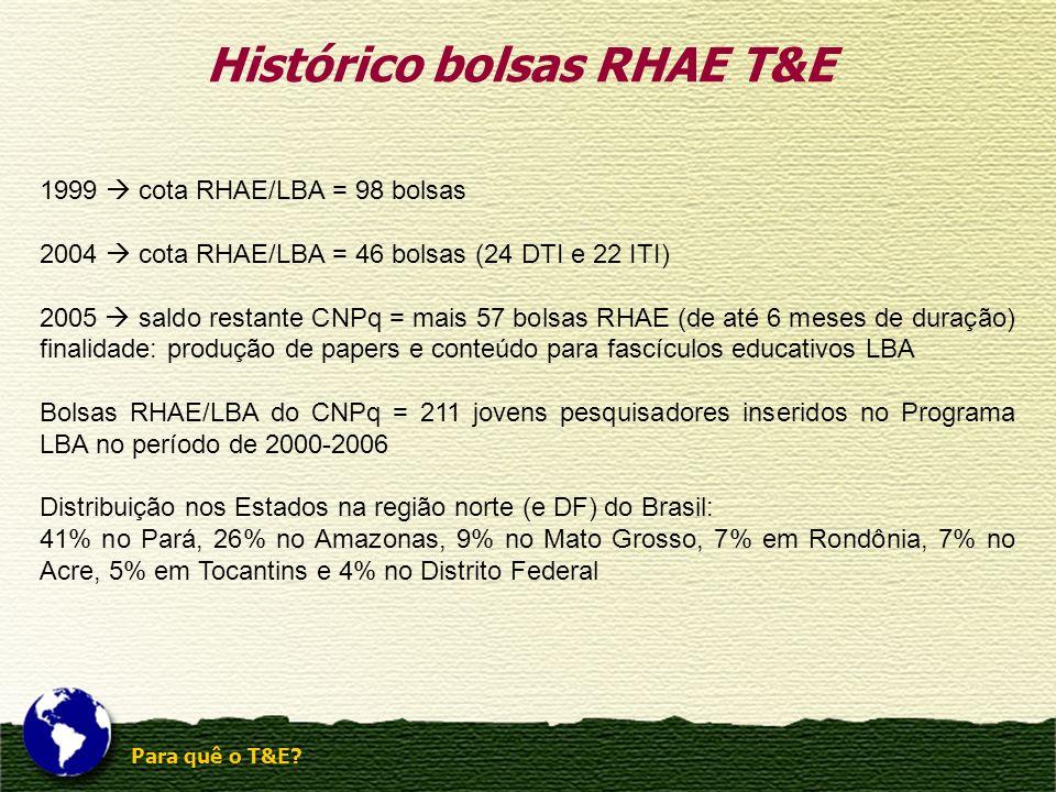 Para quê o T&E? Histórico bolsas RHAE T&E 1999 cota RHAE/LBA = 98 bolsas 2004 cota RHAE/LBA = 46 bolsas (24 DTI e 22 ITI) 2005 saldo restante CNPq = m