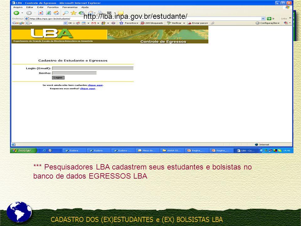CADASTRO DOS (EX)ESTUDANTES e (EX) BOLSISTAS LBA http://lba.inpa.gov.br/estudante/ *** Pesquisadores LBA cadastrem seus estudantes e bolsistas no banc