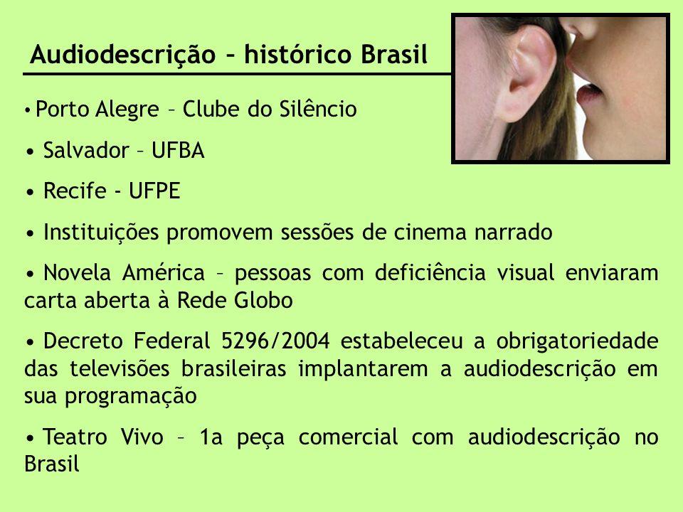 audiodescrição – benefícios para quem descreve Audiodescrição – histórico Brasil Porto Alegre – Clube do Silêncio Salvador – UFBA Recife - UFPE Instit