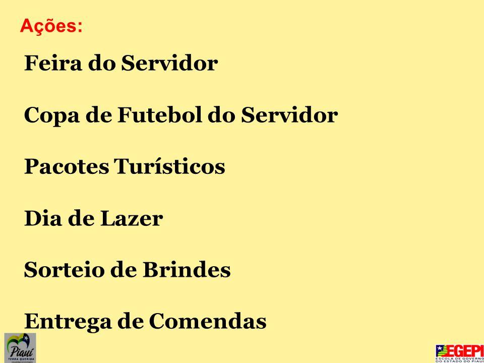Feira do Servidor Copa de Futebol do Servidor Pacotes Turísticos Dia de Lazer Sorteio de Brindes Entrega de Comendas Ações: