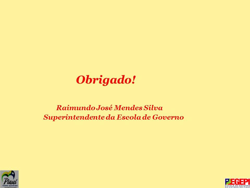 Obrigado! Raimundo José Mendes Silva Superintendente da Escola de Governo