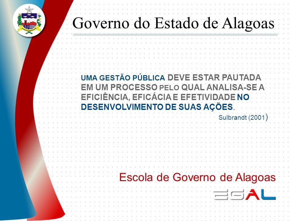 Governo do Estado de Alagoas Escola de Governo de Alagoas UMA GESTÃO PÚBLICA DEVE ESTAR PAUTADA EM UM PROCESSO PELO QUAL ANALISA-SE A EFICIÊNCIA, EFIC