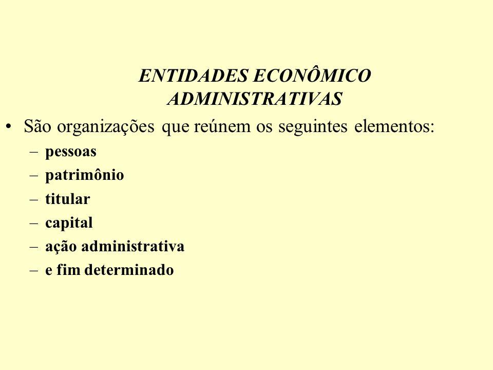 ENTIDADES ECONÔMICO ADMINISTRATIVAS São organizações que reúnem os seguintes elementos: –pessoas –patrimônio –titular –capital –ação administrativa –e fim determinado