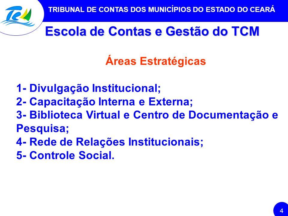 TRIBUNAL DE CONTAS DOS MUNICÍPIOS DO ESTADO DO CEARÁ 4 Escola de Contas e Gestão do TCM Áreas Estratégicas 1- Divulgação Institucional; 2- Capacitação