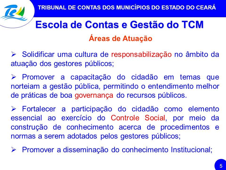 TRIBUNAL DE CONTAS DOS MUNICÍPIOS DO ESTADO DO CEARÁ 5 Escola de Contas e Gestão do TCM Áreas de Atuação Solidificar uma cultura de responsabilização