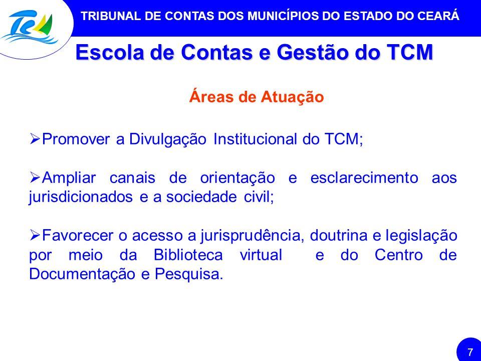 TRIBUNAL DE CONTAS DOS MUNICÍPIOS DO ESTADO DO CEARÁ 7 Escola de Contas e Gestão do TCM Áreas de Atuação Promover a Divulgação Institucional do TCM; A