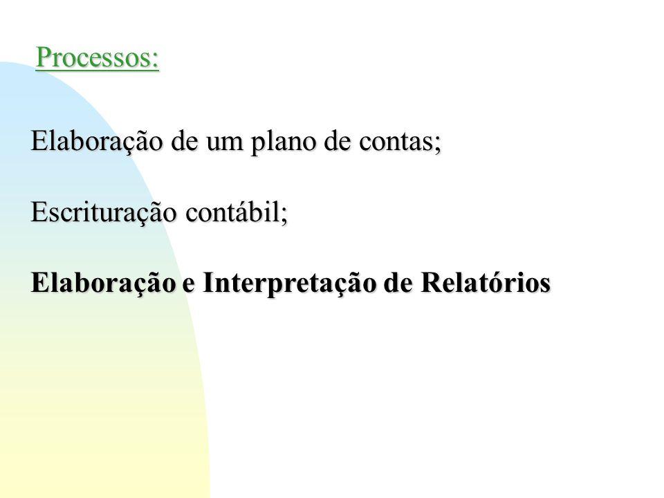 Processos: Elaboração de um plano de contas; Escrituração contábil; Elaboração e Interpretação de Relatórios