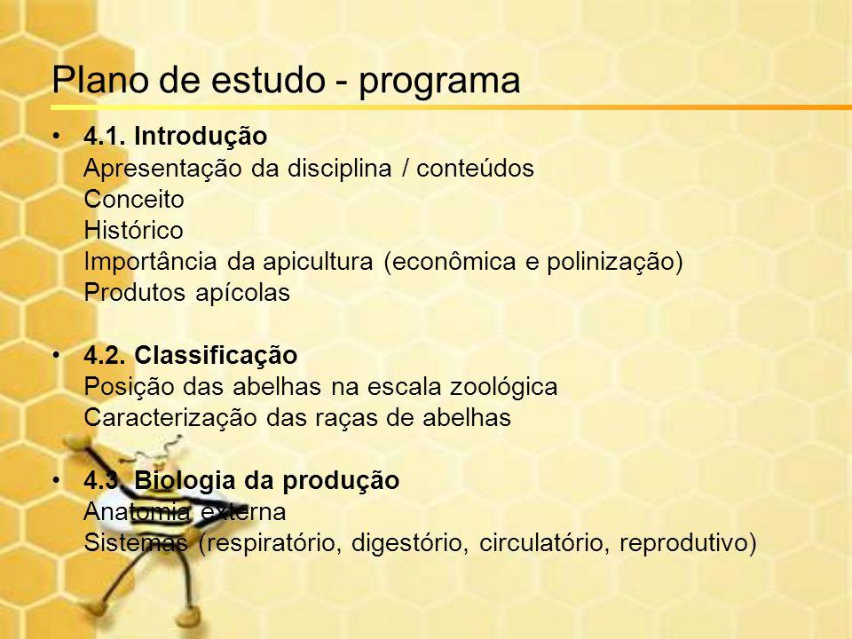 Plano de estudo - programa 4.1. Introdução Apresentação da disciplina / conteúdos Conceito Histórico Importância da apicultura (econômica e polinizaçã