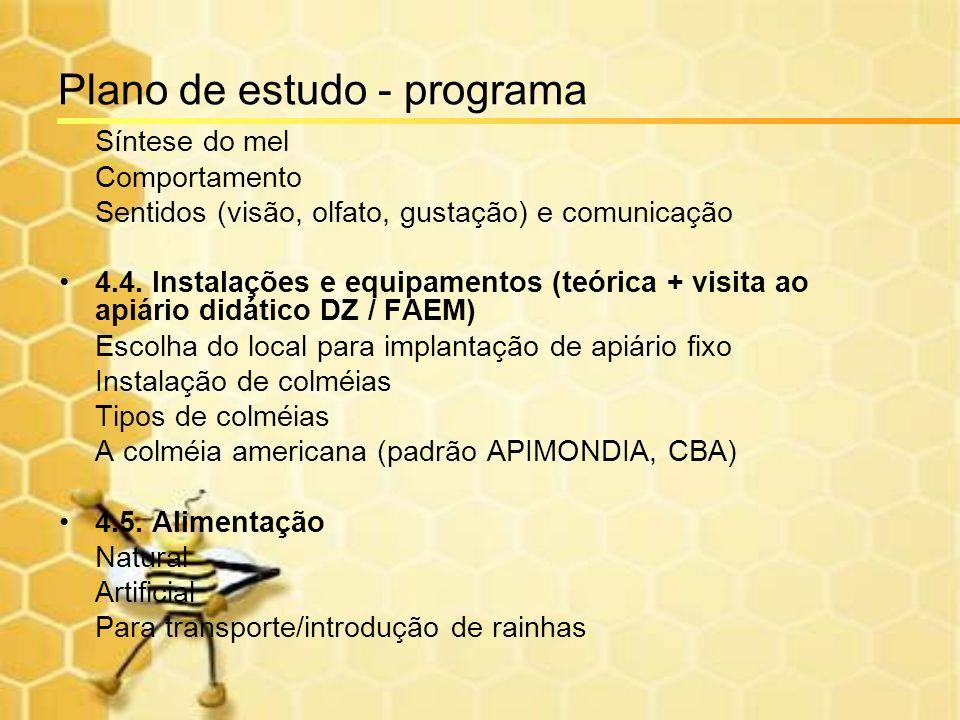 Plano de estudo - programa Síntese do mel Comportamento Sentidos (visão, olfato, gustação) e comunicação 4.4. Instalações e equipamentos (teórica + vi