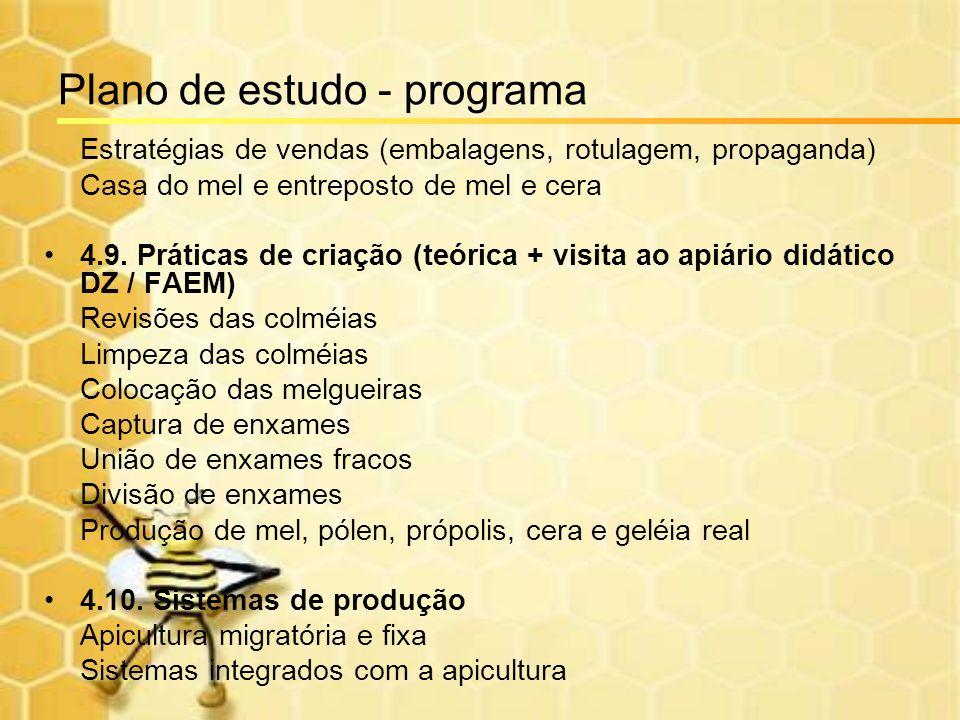 Plano de estudo - programa Estratégias de vendas (embalagens, rotulagem, propaganda) Casa do mel e entreposto de mel e cera 4.9. Práticas de criação (