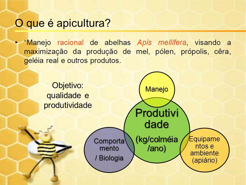 O que é apicultura? Manejo racional de abelhas Apis mellifera, visando a maximização da produção de mel, pólen, própolis, cêra, geléia real e outros p
