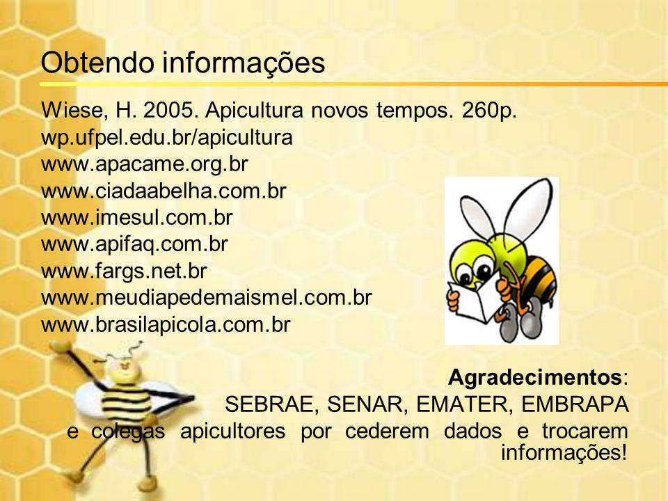 Obtendo informações Wiese, H. 2005. Apicultura novos tempos. 260p. wp.ufpel.edu.br/apicultura www.apacame.org.br www.ciadaabelha.com.br www.imesul.com