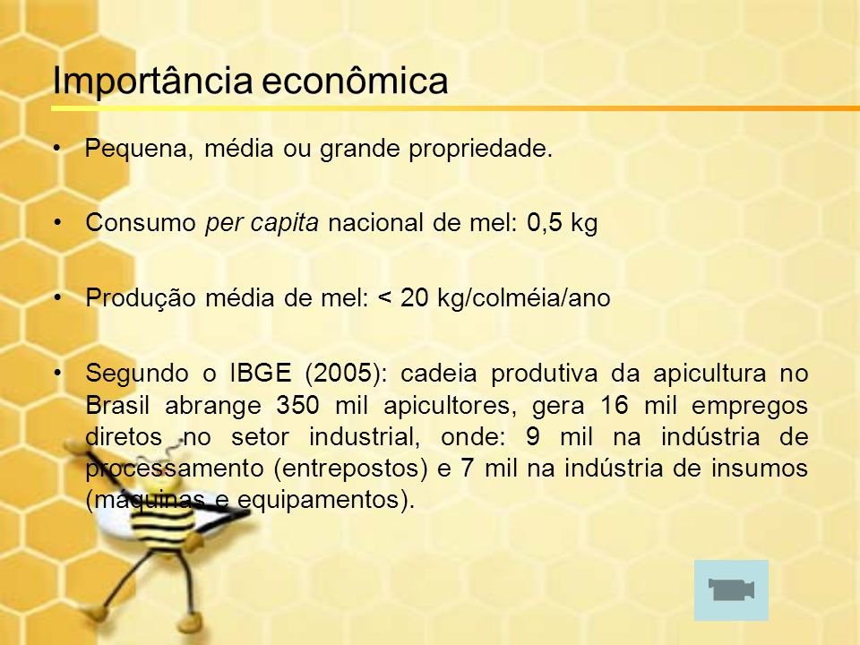 Importância econômica Pequena, média ou grande propriedade. Consumo per capita nacional de mel: 0,5 kg Produção média de mel: < 20 kg/colméia/ano Segu