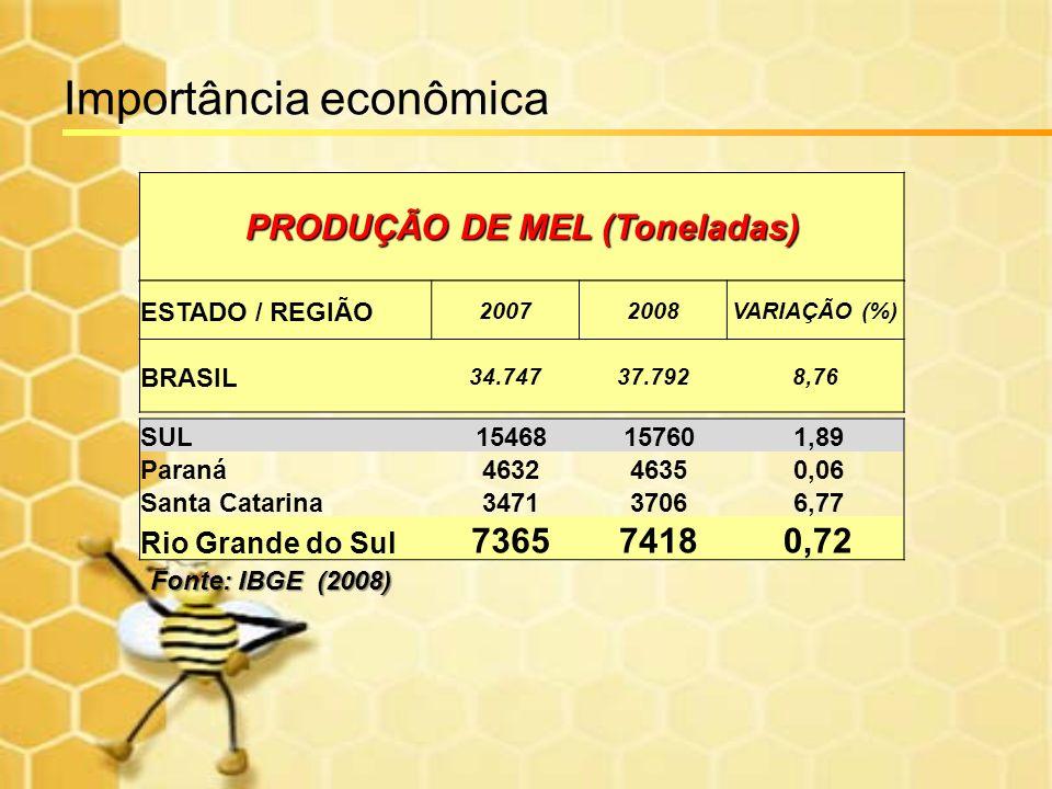 PRODUÇÃO DE MEL (Toneladas) ESTADO / REGIÃO 20072008VARIAÇÃO (%) BRASIL 34.74737.7928,76 SUL15468157601,89 Paraná463246350,06 Santa Catarina347137066,