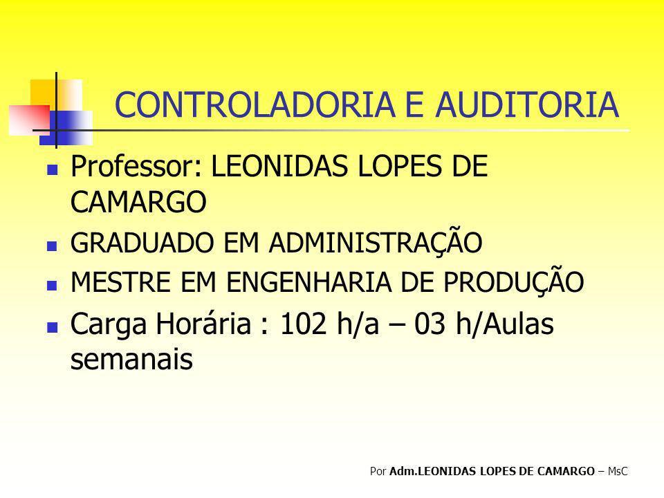 CONTROLADORIA E AUDITORIA Professor: LEONIDAS LOPES DE CAMARGO GRADUADO EM ADMINISTRAÇÃO MESTRE EM ENGENHARIA DE PRODUÇÃO Carga Horária : 102 h/a – 03
