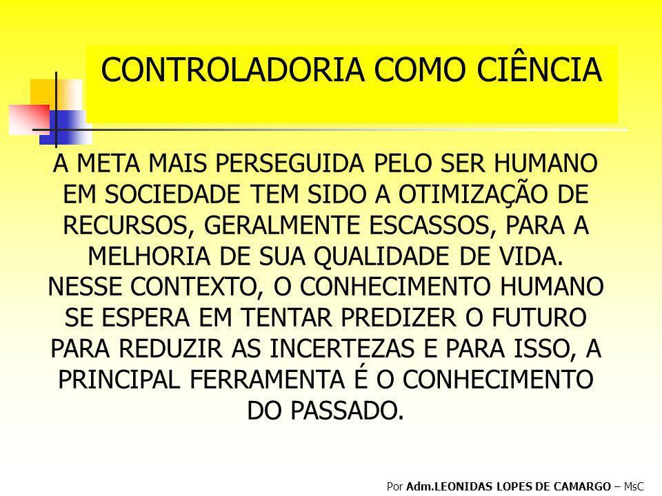 CONTROLADORIA COMO CIÊNCIA Por Adm.LEONIDAS LOPES DE CAMARGO – MsC A META MAIS PERSEGUIDA PELO SER HUMANO EM SOCIEDADE TEM SIDO A OTIMIZAÇÃO DE RECURS