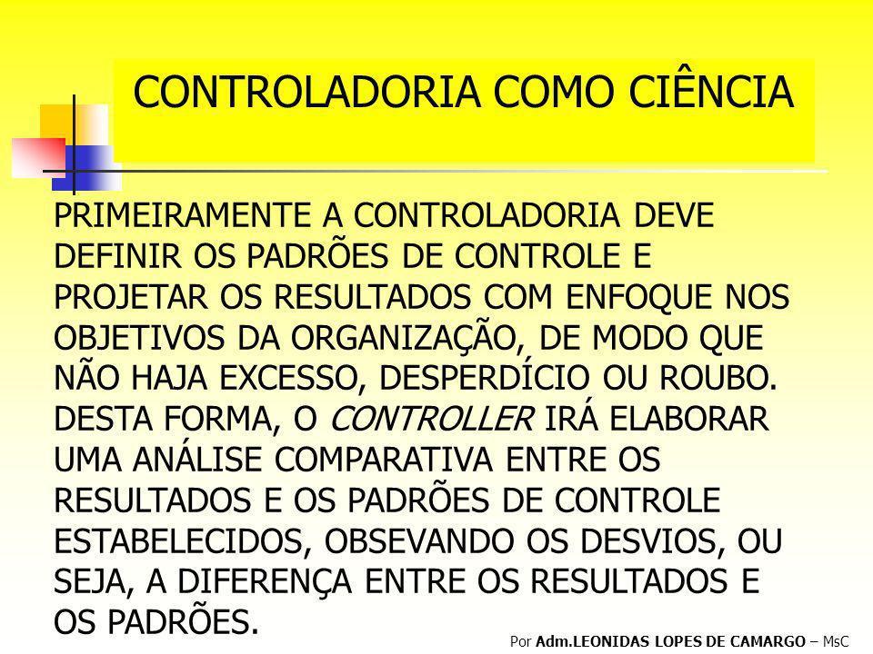 CONTROLADORIA COMO CIÊNCIA Por Adm.LEONIDAS LOPES DE CAMARGO – MsC PRIMEIRAMENTE A CONTROLADORIA DEVE DEFINIR OS PADRÕES DE CONTROLE E PROJETAR OS RES