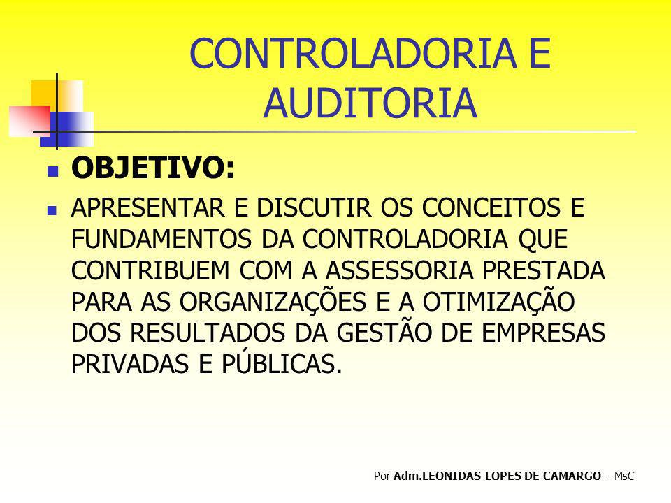 CONTROLADORIA E AUDITORIA OBJETIVO: APRESENTAR E DISCUTIR OS CONCEITOS E FUNDAMENTOS DA CONTROLADORIA QUE CONTRIBUEM COM A ASSESSORIA PRESTADA PARA AS