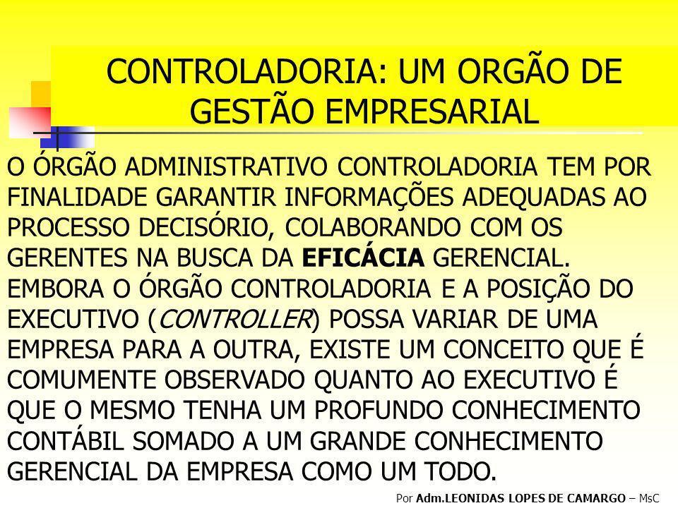 CONTROLADORIA: UM ORGÃO DE GESTÃO EMPRESARIAL Por Adm.LEONIDAS LOPES DE CAMARGO – MsC O ÓRGÃO ADMINISTRATIVO CONTROLADORIA TEM POR FINALIDADE GARANTIR