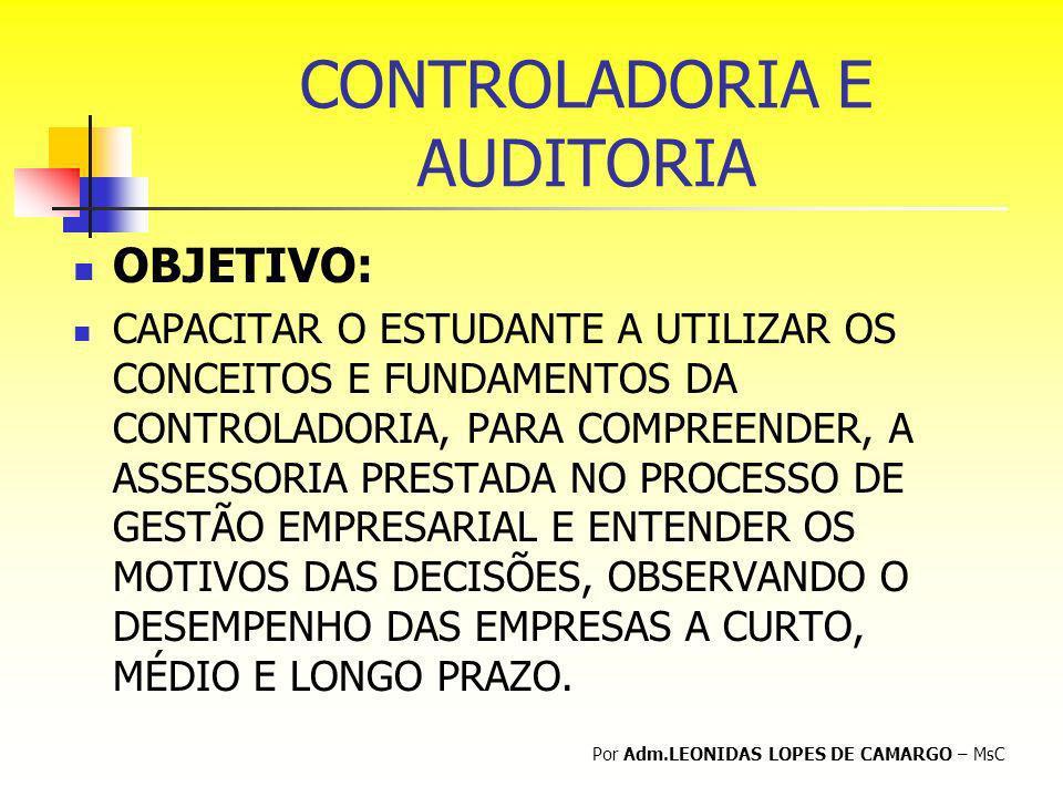 CONTROLADORIA E AUDITORIA OBJETIVO: CAPACITAR O ESTUDANTE A UTILIZAR OS CONCEITOS E FUNDAMENTOS DA CONTROLADORIA, PARA COMPREENDER, A ASSESSORIA PREST
