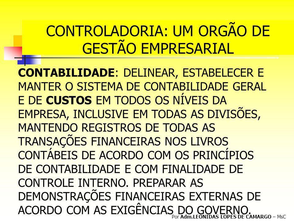 CONTROLADORIA: UM ORGÃO DE GESTÃO EMPRESARIAL Por Adm.LEONIDAS LOPES DE CAMARGO – MsC CONTABILIDADE: DELINEAR, ESTABELECER E MANTER O SISTEMA DE CONTA