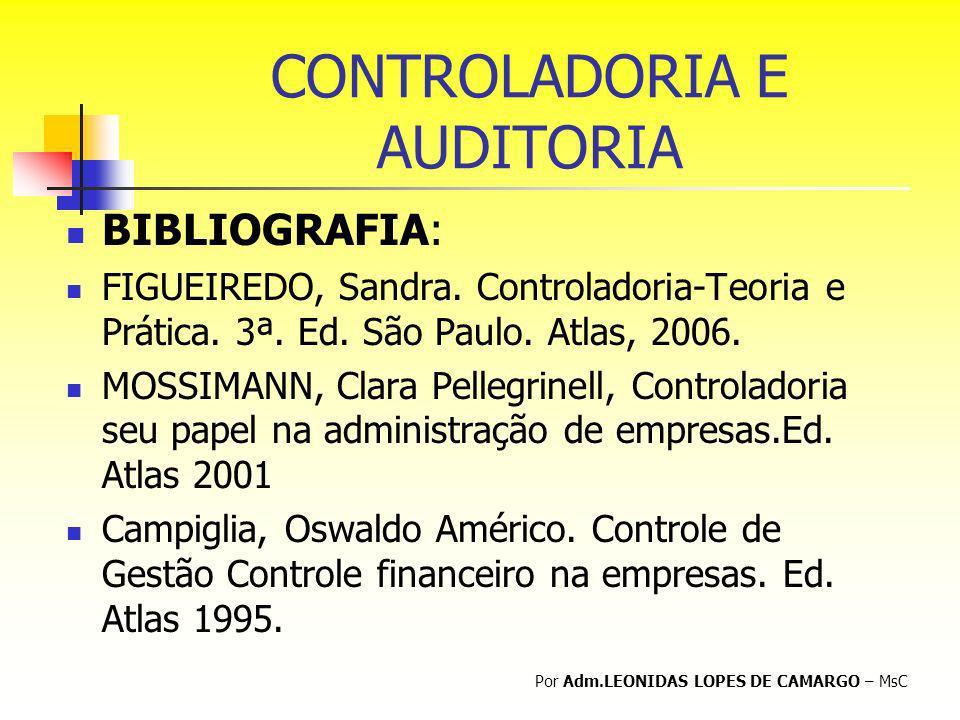 CONTROLADORIA E AUDITORIA BIBLIOGRAFIA: FIGUEIREDO, Sandra. Controladoria-Teoria e Prática. 3ª. Ed. São Paulo. Atlas, 2006. MOSSIMANN, Clara Pellegrin
