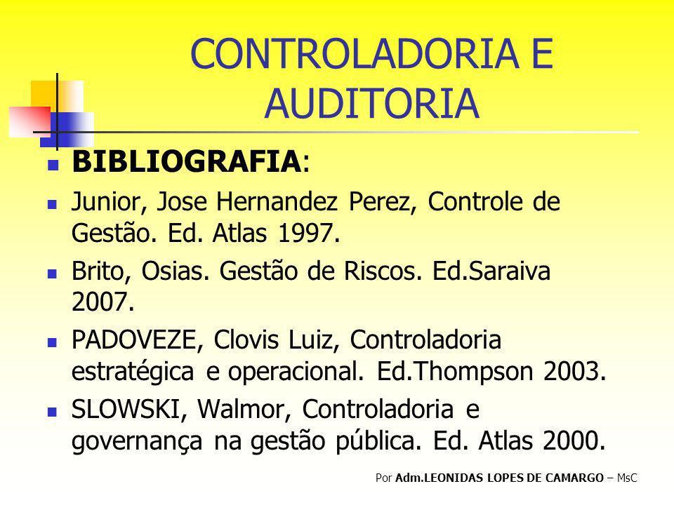 CONTROLADORIA E AUDITORIA BIBLIOGRAFIA: Junior, Jose Hernandez Perez, Controle de Gestão. Ed. Atlas 1997. Brito, Osias. Gestão de Riscos. Ed.Saraiva 2