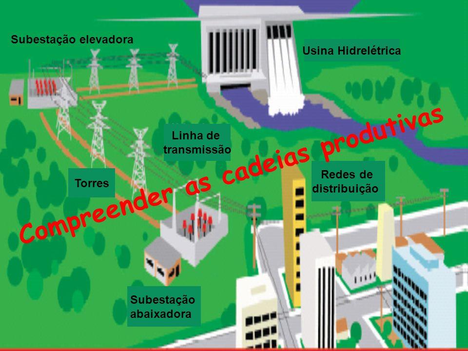 Usina Hidrelétrica Subestação elevadora Torres Linha de transmissão Subestação abaixadora Redes de distribuição Compreender as cadeias produtivas