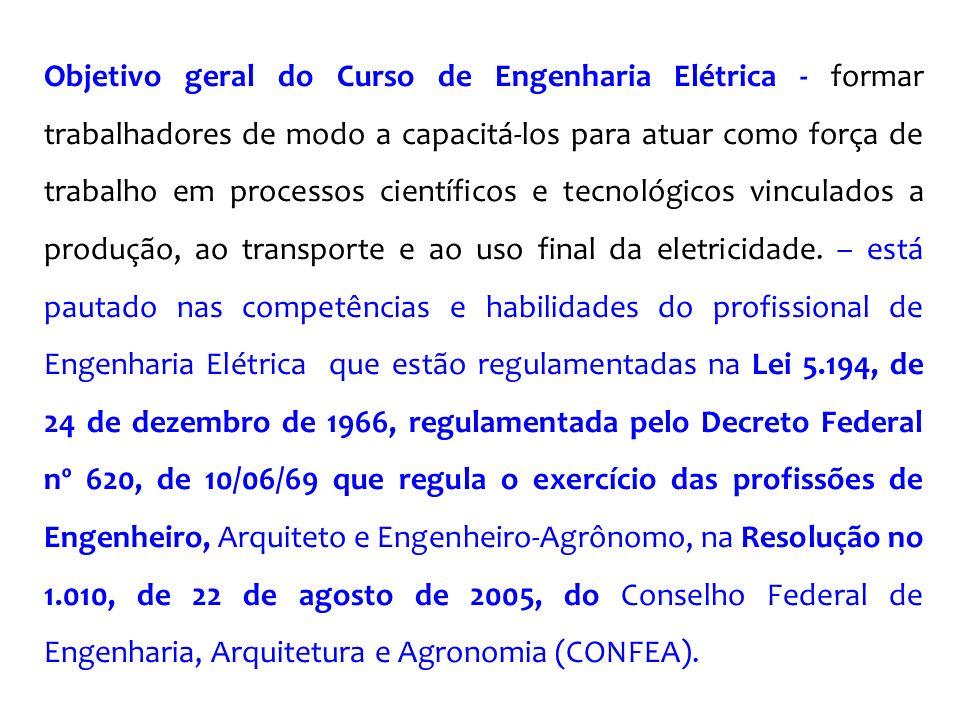 Objetivo geral do Curso de Engenharia Elétrica - formar trabalhadores de modo a capacitá-los para atuar como força de trabalho em processos científico