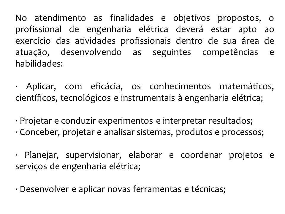 No atendimento as finalidades e objetivos propostos, o profissional de engenharia elétrica deverá estar apto ao exercício das atividades profissionais