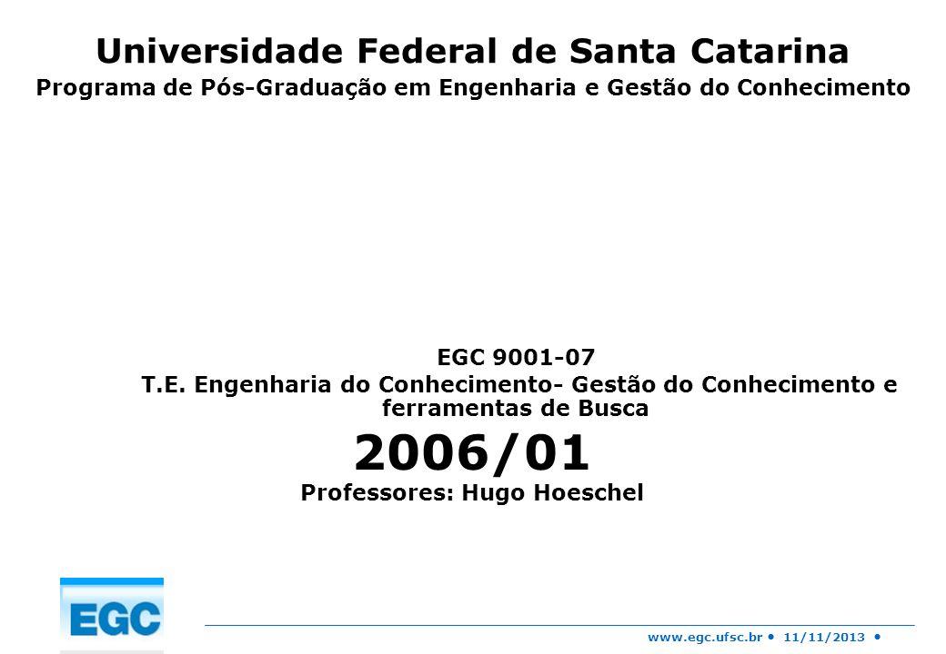 www.egc.ufsc.br 11/11/2013 EGC 9001-07 T.E. Engenharia do Conhecimento- Gestão do Conhecimento e ferramentas de Busca 2006/01 Professores: Hugo Hoesch