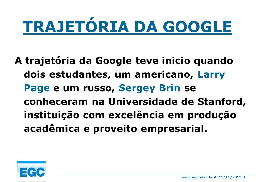 www.egc.ufsc.br 11/11/2013 TRAJETÓRIA DA GOOGLE A trajetória da Google teve inicio quando dois estudantes, um americano, Larry Page e um russo, Sergey