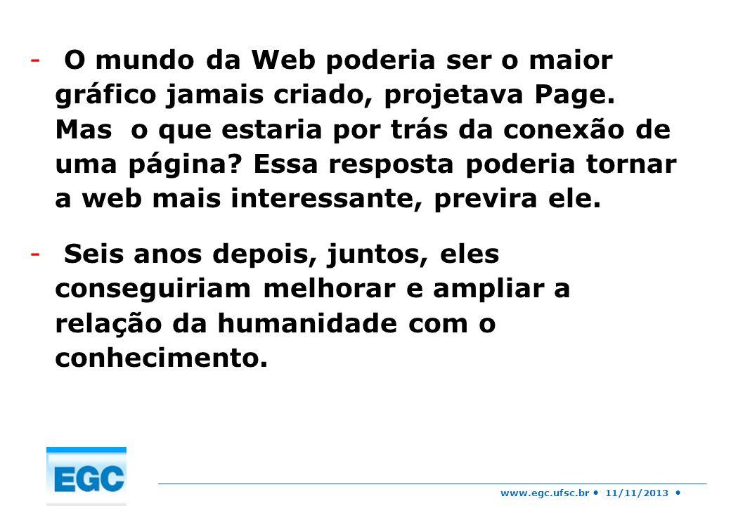 www.egc.ufsc.br 11/11/2013 - O mundo da Web poderia ser o maior gráfico jamais criado, projetava Page. Mas o que estaria por trás da conexão de uma pá
