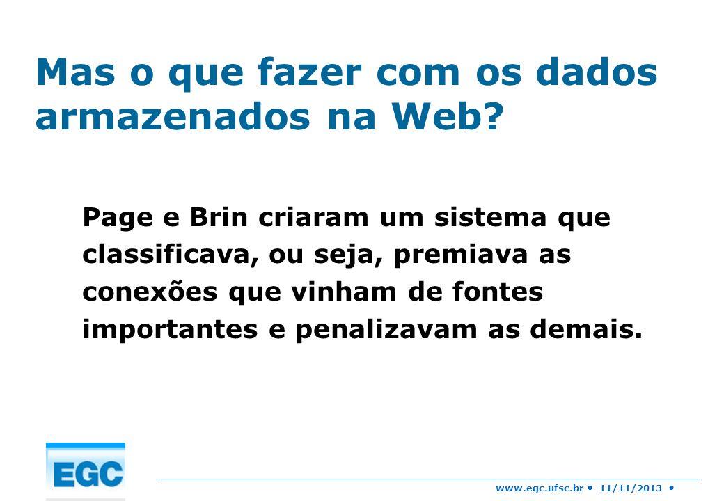 www.egc.ufsc.br 11/11/2013 O grande avanço deles foi a criação de um algoritmo batizado de Pagerank: Identifica o número de conexões de um determinado site, bem como os números de conexões dos sites interligados.